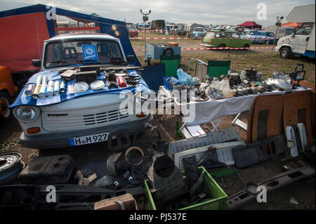 Spare Trabant parts for sale at an East German Trabant Rally in Zwickau, Saxony, Germany. - Stock Photo
