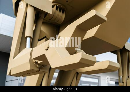 August 20, 2018. - Russia, Moscow Region. - A 4.5 tonne pilot-operated walking robot code-named Igoryok designed by the Kalashnikov Concern is displayed at the Russian Army Tomorrow exhibition as part of the 4th international military technical forum Army 2018, Kubinka. Mandatory credit: Kalashnikov Media. - Stock Photo