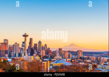 beautiful Seattle city skyline on the sunset,Washington,usa. - Stock Photo