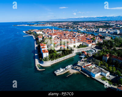 Beautiful city of Zadar from air, Croatia - Stock Photo