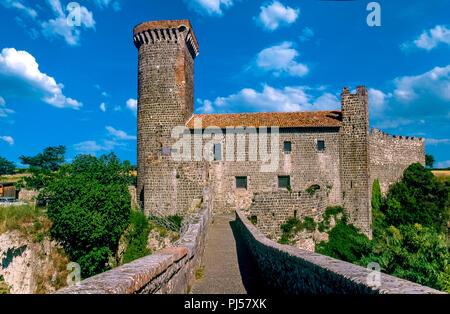 Italy Lazio Montalto di Castro - archaeological park of Vulci - Bridge and caste - Stock Photo