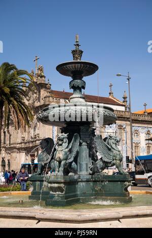 Portugal, Porto, Praça de Carlos Alberto, Igreja do Carmo, baroque catholic church, door in  tiled wall - Stock Photo
