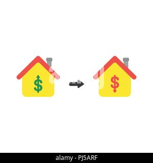 Vector illustration icon concept of house with dollar money symbols and arrows moving up and down. - Stock Photo