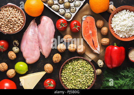 Balanced dietary products. The concept of healthy eating. Background of a healthy meal. Fruits, vegetables, salmon, chicken fillet, cereals. The view from above, flat lay. - Stock Photo