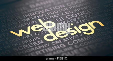 Word cloud over black background with the text web design witten in golden letters. Visual communication concept. 3D illustration - Stock Photo