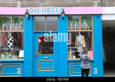 Oh HelloTrendy cafes and shops on Exchange Street in central Dundee, the 'City of Discovery', in Scotland, UK - Stock Photo