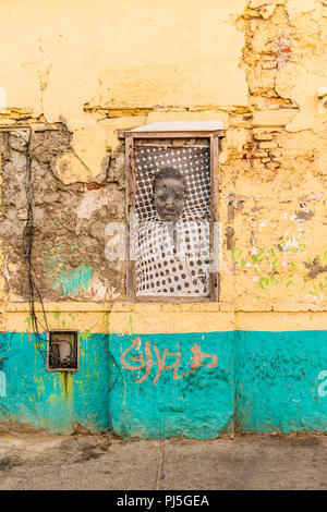 A typical view in Cartagena in Colombia. - Stock Photo