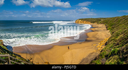 Overview of Bells Beach, Torquay, Surf Coast Shire, Great Ocean Road, Victoria, Australia on a sunny day - Stock Photo