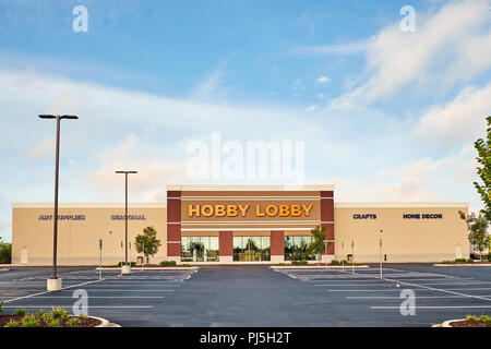 Hobby Lobby front exterior entrance of the arts and crafts super store or big box store showing the logo, in Montgomery Alabama, USA. - Stock Photo