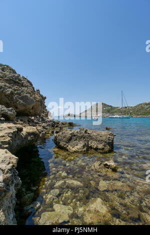 Ladiko Beach of Rhodes, Greece - Stock Photo