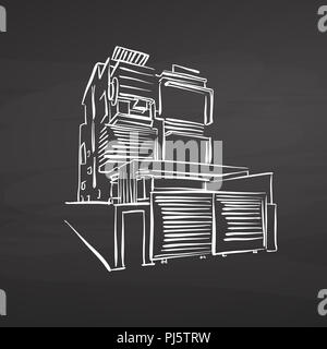 modern office house drawing on chalkboard. hand-drawn vector sketch. business concept design. - Stock Photo