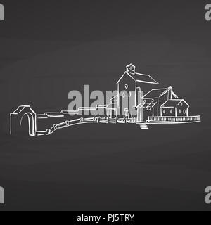 farm house drawing on chalkboard. hand-drawn vector sketch. business concept design. - Stock Photo