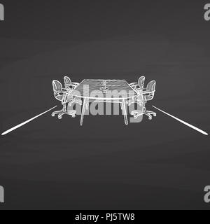 meeting desk drawing. hand-drawn vector sketch. business concept design. - Stock Photo