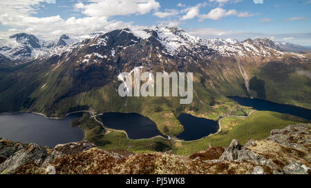 Folkestad mountains as seen from the summit of Keipen, Volda Norway - Stock Photo