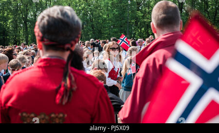 Norwegian Constitution Day Parade on Karl Johans Gate, Oslo - Stock Photo