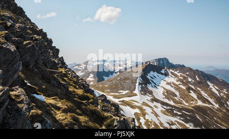 Mountain ridges leading from Snøhornet peak, Lauvstad Norway. - Stock Photo