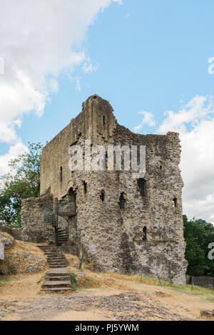 Peveril Castle, Castleton, Derbyshire, England - Stock Photo