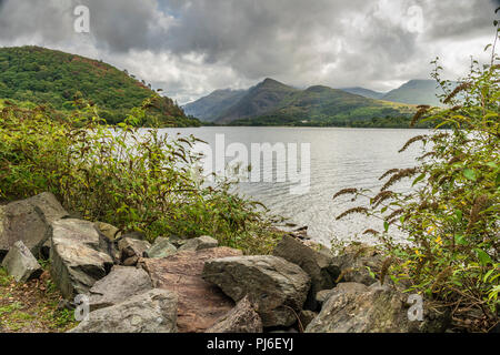 Snowdonia Noth wales 4th September 2018: Bikers on the open roads, visitors enjoy  a five-mile return journey on the 1845 slate railway route running along the shores of Lake Padarn at heart of Snowdonia. Clifford Norton Alamy Live News. - Stock Photo