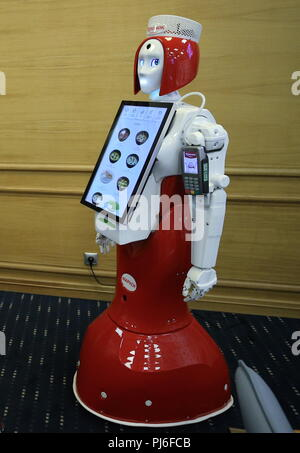 St Petersburg, Russia. 05th Sep, 2018. ST PETERSBURG, RUSSIA - SEPTEMBER 5, 2018: Marusya the robot taking orders and accepting credit cards that will serve at Teremok fast food chain offering Russian cuisine. Peter Kovalev/TASS Credit: ITAR-TASS News Agency/Alamy Live News - Stock Photo