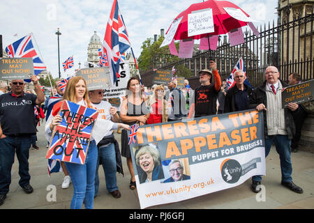 London, UK. 5th September, 2018. Pro-Brexit activists from UK Unity protest in Westminster. Credit: Mark Kerrison/Alamy Live News - Stock Photo