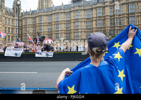 London, UK. 5th September, 2018. Pro-Brexit activists from UK Unity and pro-EU activists from Stand of Defiance European Movement (SODEM) protest outside Parliament in Westminster. Credit: Mark Kerrison/Alamy Live News - Stock Photo