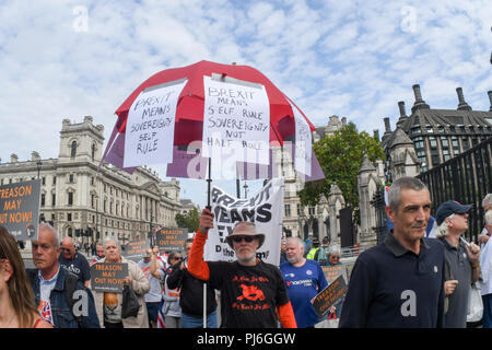 Westminster, London, UK. 5th Sept 2018. Pro-Brexit holding placard to Block Parliament & the Brexit Betrayal! march in Westminster, London, UK. 5th September 2018. Credit: Picture Capital/Alamy Live News - Stock Photo