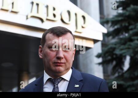 Moscow, Russia. 05th Sep, 2018. MOSCOW, RUSSIA - SEPTEMBER 5, 2018: St Petersburg Mint Director Konstantin Krokhmal seen outside the Moscow Mint. Stanislav Krasilnikov/TASS Credit: ITAR-TASS News Agency/Alamy Live News - Stock Photo
