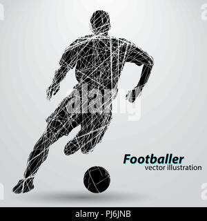 silhouette of a football player. Text and background on a separate layer, color can be changed in one click. - Stock Photo