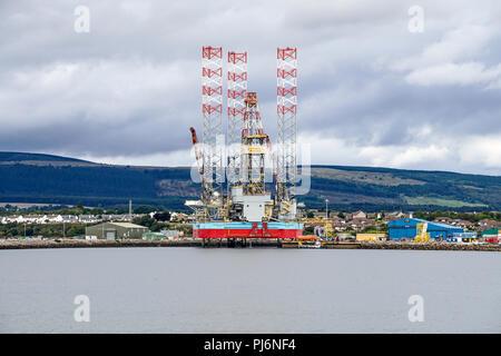 Drilling rig Maersk Reacher moored at Invergordon Cromarty Firth Highland Scotland Uk - Stock Photo