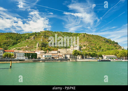 River Rhone and the town of Tournon sur Rhone in the Ardeche department of Rhone Alps, France - Stock Photo