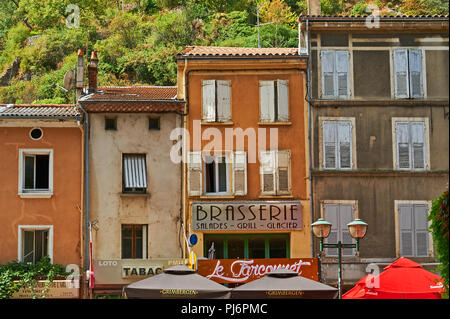 Line of building frontages in the French town of Tournon sur Rhone, Ardeche, Rhone Alps, France - Stock Photo