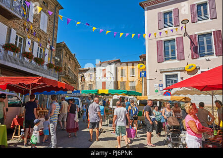 Saint Felicien in the Ardeche department of Rhone Alps, France and street market in the centre of the town - Stock Photo