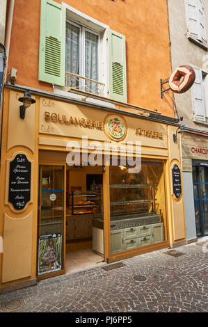 Tournon sur Rhone in the Ardeche department of the Rhone Alps and the front of a boulangerie or bakery shop - Stock Photo
