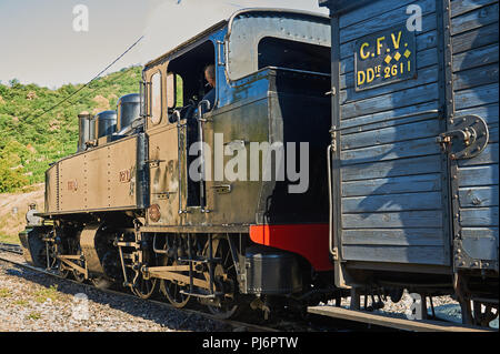Steam locomotive at Tournon station awaiting to depart on the Train De L'Ardeche along the River Doux gorge to Lamastre - Stock Photo