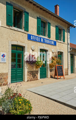 Lamastre, Ardeche,Rhone Alps,France and the tourist office located at the railway station. - Stock Photo