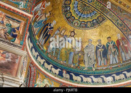 Mosaics (12th century), Church of Our Lady in Trastevere interior, Basilica of Santa Maria in Trastevere, Rome, Lazio, Italy - Stock Photo