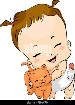 Illustration of a Baby Girl Wearing a Cloth Diaper and Hugging an Orange Tabby Cat - Stock Photo