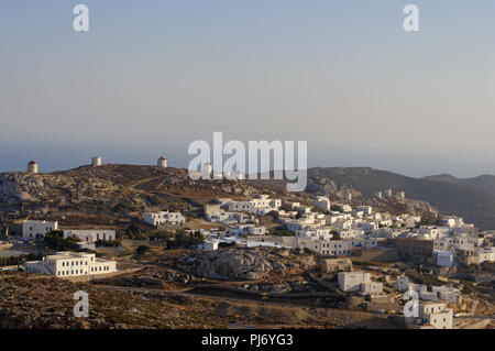 Sunset in Amorgos Chora, in Cyclades - Stock Photo