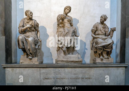 Michelangelo medici tomb schapel culpture detail in florence - Stock Photo