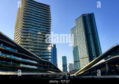 Interior view of Zorlu Center shopping mall.Zorlu Center is a multiple use complex in the Besiktas district on the European side of Istanbul,Turkey. - Stock Photo