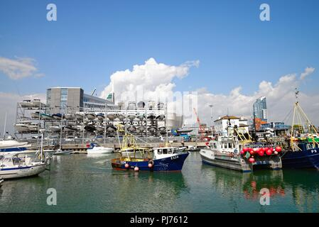 Historic old camber harbour on a summers day Old Portsmouth Hampshire England UK - Stock Photo