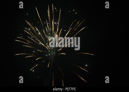 a single firework going off in the dark sky - Stock Photo
