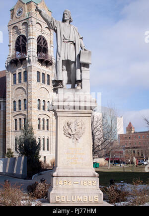 Christopher Columbus statue in Scranton Pennsylvania - Stock Photo