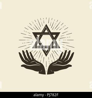 Star of David, symbol. Israel or Judaism emblem. Vector illustration - Stock Photo