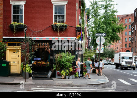 New York City, USA - June 22, 2018: Colorful florist in Greenwich Village - Stock Photo