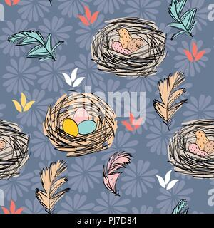 Vector Bird nest - Stock Photo