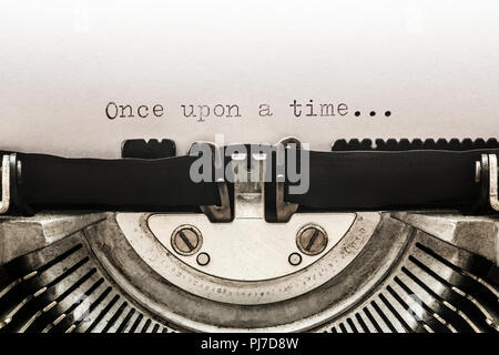 Once upon a time typed on a vintage typewriter - Stock Photo