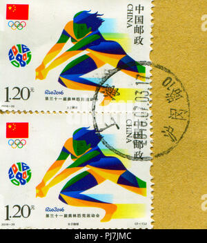GOMEL, BELARUS, 27 AUGUST 2018, Stamp printed in China shows image of the Rio 2016, circa 2016. - Stock Photo