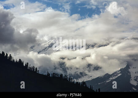 Beautiful view of the Kullu valley with Great Himalayan Ranges at background, India. - Stock Photo