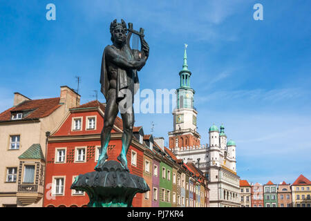 Fountain with statue of Apollo on the old town square in Poznan, Poland - Stock Photo